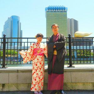 中国からのお客さまです。お天気が良く、お着物で浅草観光にお出かけ頂きました\(^-^)/
