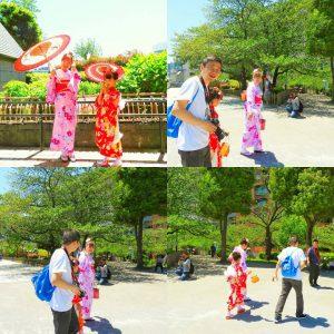 中国からのお客さまです。お天気もよく素敵なお着物体験になったと思います\(^-^)/お母様とお嬢様の艶やかなお着物がとてもお似合いです(~▽~@)♪♪♪