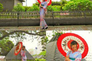 伝統的な赤と青のたて線のお着物がとてもお似合いです\(^o^)/撮影でご利用頂きました\(^-^)/楽しんでくださいね(σ≧▽≦)σ