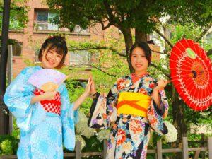 台湾からのお客様です\(^_^)/浴衣をレトロモダンに着付けしました。女子の和服美人!! 可愛いいですね\(^_^)/