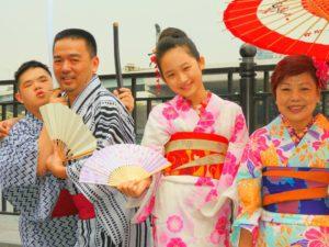 台湾からの御家族です\(^_^)/浴衣体験ありがとうございます。可愛いいですね