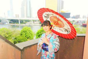本日浅草隅田川にて、灯籠流しにお出かけする予定で浴衣をお選び頂きました。レトロモダンでとても可愛いいです\(^_^)/