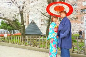 和柄の傘で、お着物のお写真です(^-^)vとてもお似合いです????
