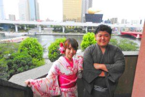 レトロモダンの雰囲気が出てて、とてもお似合いなカップルです\(^_^)/花火大会に浴衣でデート楽しんで下さいね(*^ー^)ノ❤