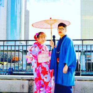 来自台湾的客人👘😍。 男生选择了绅士的和服,女孩子选择了和可爱的传统振袖,谢谢你们来浅草体验和服哦🎵🎵🤗。