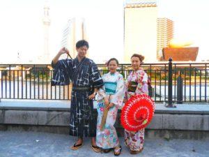 中国からのお客様です\(^_^)/花火大会で三人様お出かけ頂きました!浴衣体験ありがとうございます(*^ー^)ノ♪
