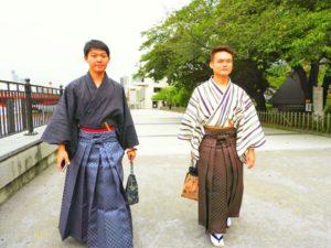 台湾からのお客様です\(^_^)/日本伝統のメンズ袴を体験して頂きました。とてもお似合いで素敵です(*^ー^)ノ♪