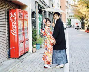 ご結婚のお祝いで本振袖と紳士の袴
