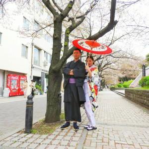 台湾からのお客さまです。羽織に着物で伝統的なスタイルです(^-^)vお花見楽しんでくださいね(σ≧▽≦)σ