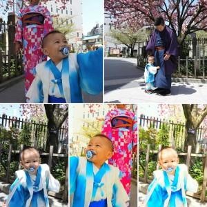 台湾からのお客さまです。1才6カ月の男の子と御両親のお着物体験を楽しんで頂きました。可愛いですね(*^▽^)/★*☆♪