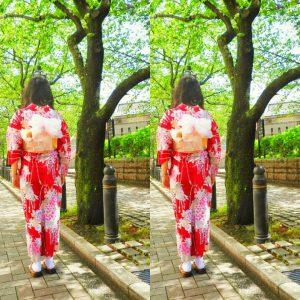 中国からのお客さまです。浴衣をお選び頂きました\(^-^)/赤の艶やかな柄がとてもお似合いです(~▽~@)♪♪♪