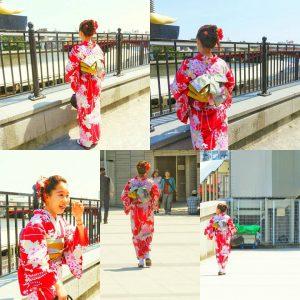 浴衣をお選び頂きました\(^-^)/赤の艶やかな浴衣がお似合いです(~▽~@)♪♪♪韓国からお越しのお客様です。ご来店ありがとうございます。