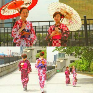 市松のお花柄と、牡丹のお花柄の浴衣をお選び頂きました\(^-^)/とても可愛いです💕伝統的な浴衣スタイルです!体験ありがとうございます(●^o^●)
