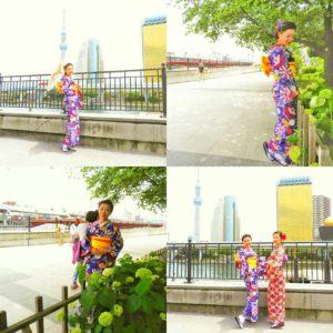 艶やかなお色お着物がお似合いです\(^o^)/ 紫陽花を背景にお写真をお取りいたしました。 伝統文化の着物を体験して頂き、ありがとうございます(●^o^●)楽しんでくださいね(σ≧▽≦)σ
