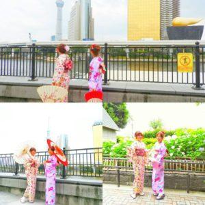 台湾からのお客様です。可愛いいお着物をお選び頂きました。ありがとうございます(^^)