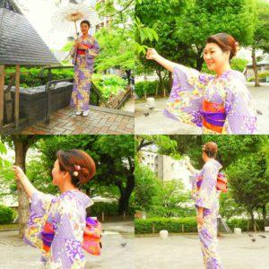 青海波模様の艶やかなお着物がとてもお似合いです!着物体験ありがとうございます♪ 浅草観光楽しんでくださいね(^-^)