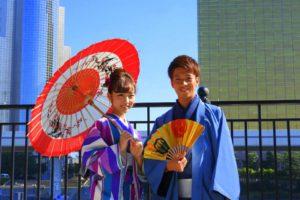 お揃いの寒色系のお着物をお選び頂きました(^^) 秋日和で散策楽しんで下さいね(*^ー^)ノ♪