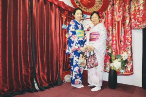 Mother and daughter from Hong Kong, wearing Kimono together.