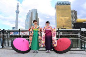 香港 女性2名 本振袖 袴