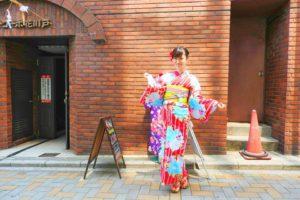 日本でご活躍のモデルさんです。赤色の地にブルーのお花がパッとしてて可愛いです!帯もアレンジさせて頂きました\(^o^)/撮影頑張って下さいね♪