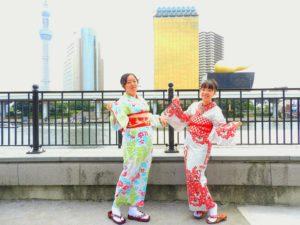 台湾からのお客様です\(^_^)/涼しげな浴衣がとてもお似合いです💖浅草散策楽しん下さいね(*^^*)