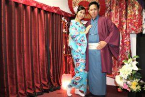 お似合いの着物、浅草観光、マレーシアからのお二人。