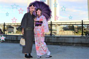 香港から紳士、淑女、着物体験