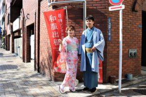 選擇可愛的粉色和服👘很可愛的呢❤️❤️男士選擇了沈穩的藍色系!很帥氣啊!