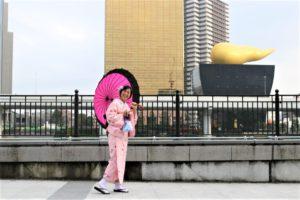 香港 女性1人 着物体験 スカイツリー 記念写真