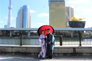 香港藍的情侶一起穿和服去川岳玩~