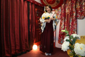 袴プラン をご利用のお客様です❤️❤️レトロモダン なお着物と袴を合わせてお選び頂きました!!! とても可愛いですね(*'▽'*)✨