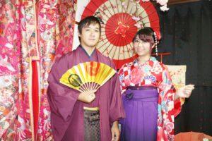 台湾からお越しのお客様です。2回目のご利用ありがとうございます👘 振袖に袴は第1礼装で、とてもお似合いです。また紳士の袴は、市松模様で素敵に着こなして頂いてます^_^ 浅草観光楽しんで下さいね🎵