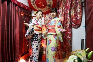 女子会  和服コーデ で当店ご利用頂きました。  兩位一同來本店體驗和服,很可愛呢!