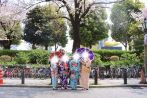 Ladies from Indonesia are dressed in colorful Kimono!