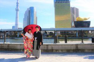 隅田公園で着物を着て記念写真です。💕