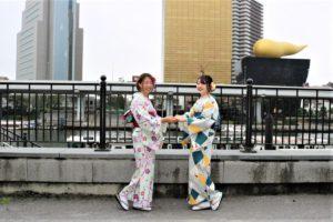 なかよしのお二人、着物、浅草観光!