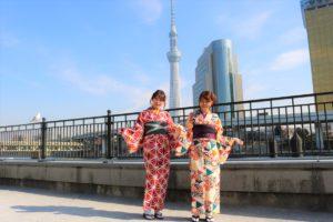 お友達とご一緒にかわいい着物で浅草散歩!