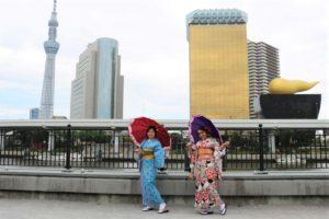 メキシコのお友達とご一緒に着物で散歩