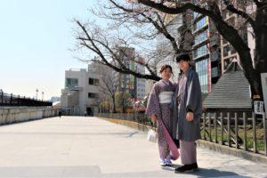 桜 咲く 着物 男女 浅草散策