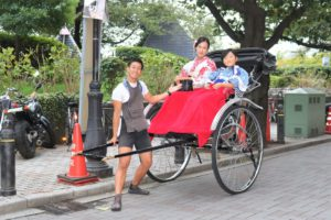 Customer from Korea,it is   very interesting ride the rickshaw together !