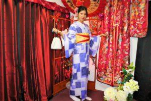 Elegant lady dressed in blue and white Kimono.