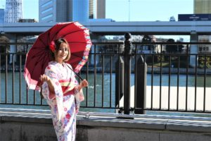 Customer from Thailand. She looks cute in Kimono.