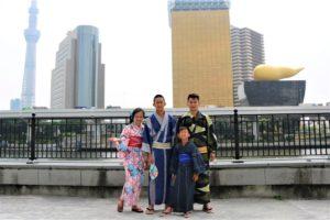 台湾からご家族で浴衣体験