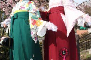 桜の下で袴ポートレート