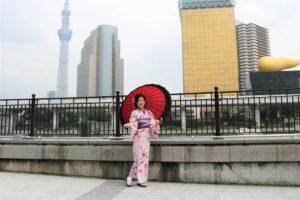 台湾から浴衣美人、ピンクの浴衣がお似合い