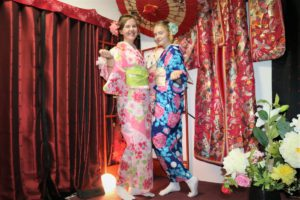 Two girls from Finland.They wear kimono first time.