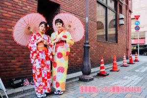 艶やかなレトロモダンなお着物をお選びになり、記念写真も撮りました❤️当店前の隅田公園でのお写真です。また同行写真をご希望の方👘❣️😊プラン詳細お問い合わせ下さいね🌸🌸✨